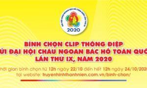Bình chọn clip Thông điệp gửi Đại hội Cháu ngoan Bác Hồ toàn quốc lần thứ IX, năm 2020