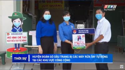 Tây Ninh - Huyện đoàn Gò Dầu trang bị các máy rửa tay tự động tại các khu vực công cộng.
